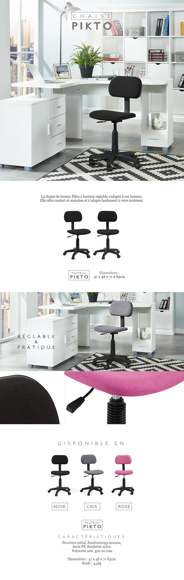 pikto chaise de bureau dactylo - tissu rose - l 38 x p 40 cm - achat