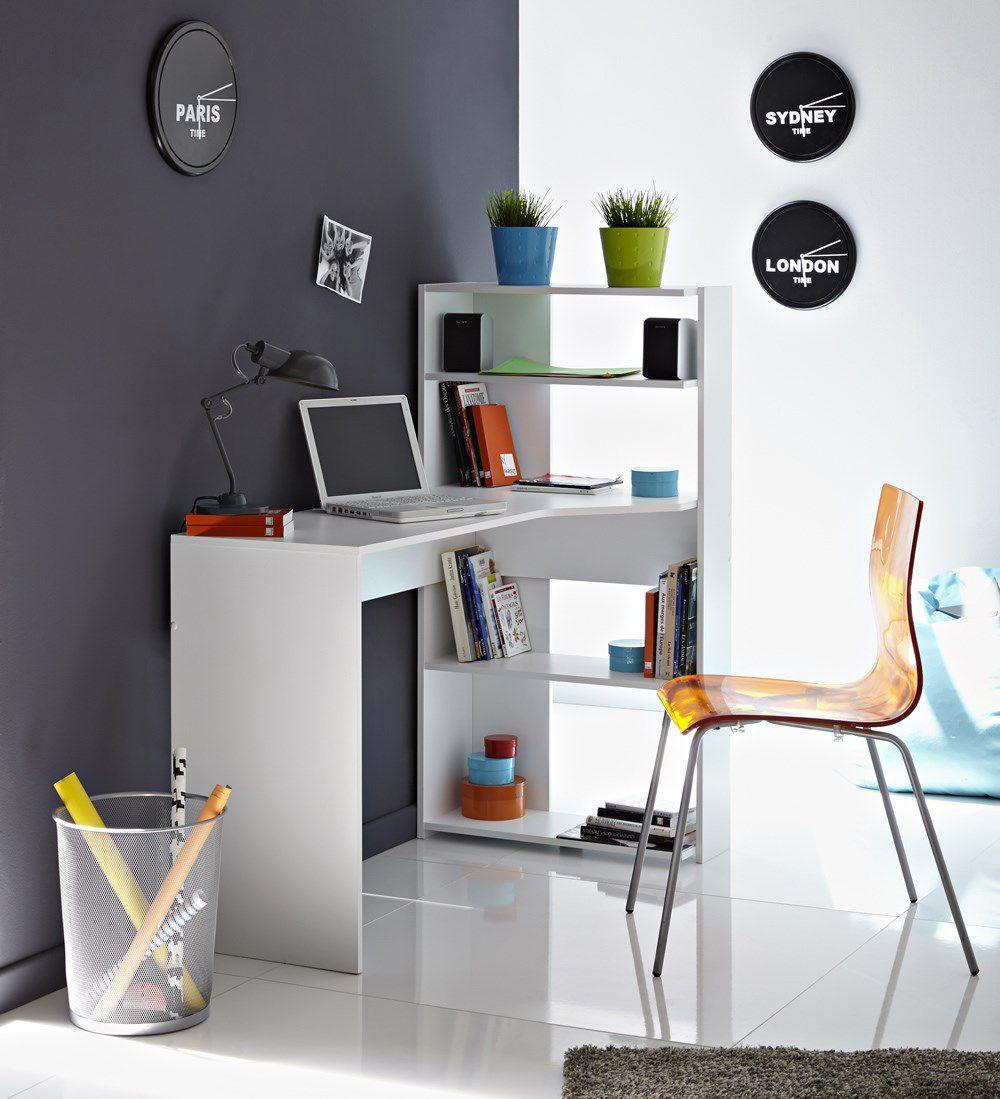june bureau d'angle contemporain décor blanc - l 122 cm - achat
