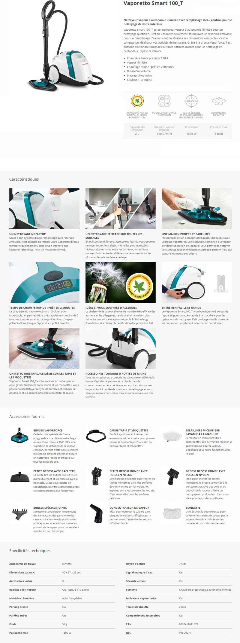 POLTI VAPORETTO - Smart100_T - Nettoyeur vapeur - autonomie illimitée - 4 BAR - 110g/min - 1500W - 9 accessoires - Turquoise