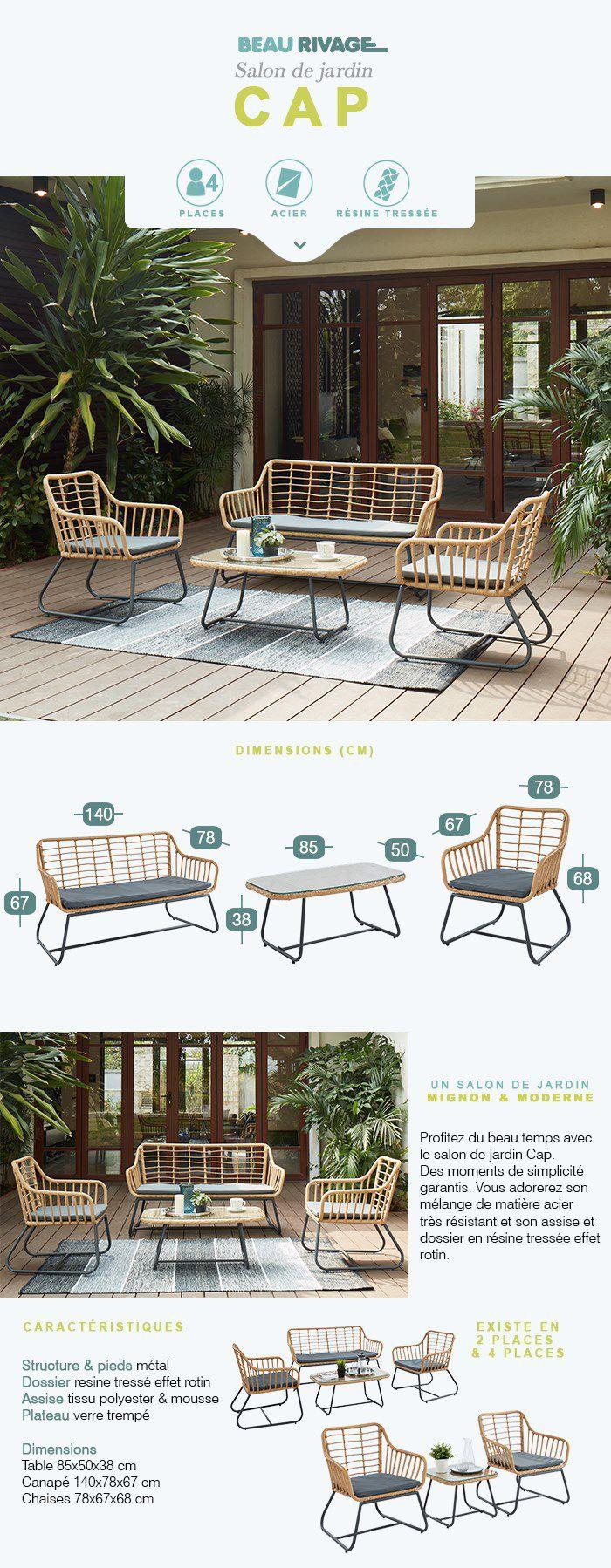CAP Salon de jardin 4 places en résine imitation rotin avec 2 fauteuils et  banquette coussins gris + table basse