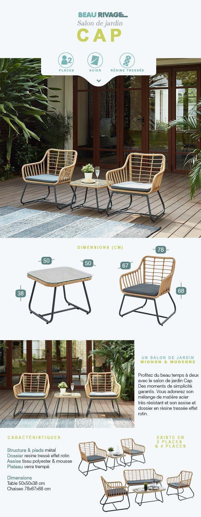 CAP Salon de jardin 2 places en résine imitation rotin avec 2 fauteuils  coussins gris + table basse
