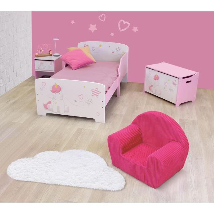 CIJEP Pack chambre pour enfant Fille rose et blanc thème Licorne (lit,  table de chevet, coffre et fauteuil)