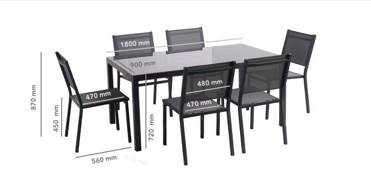 OMAN Ensemble Table Et Chaises Aluminium 6 Places