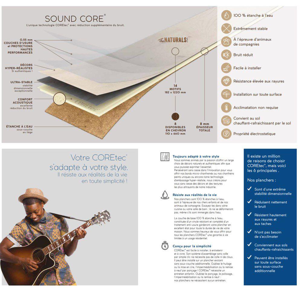 Revetement Sol Liege Avis coretec 2,66 m2 - 12 lames vinyles pvc clipsables 122,2 x 18