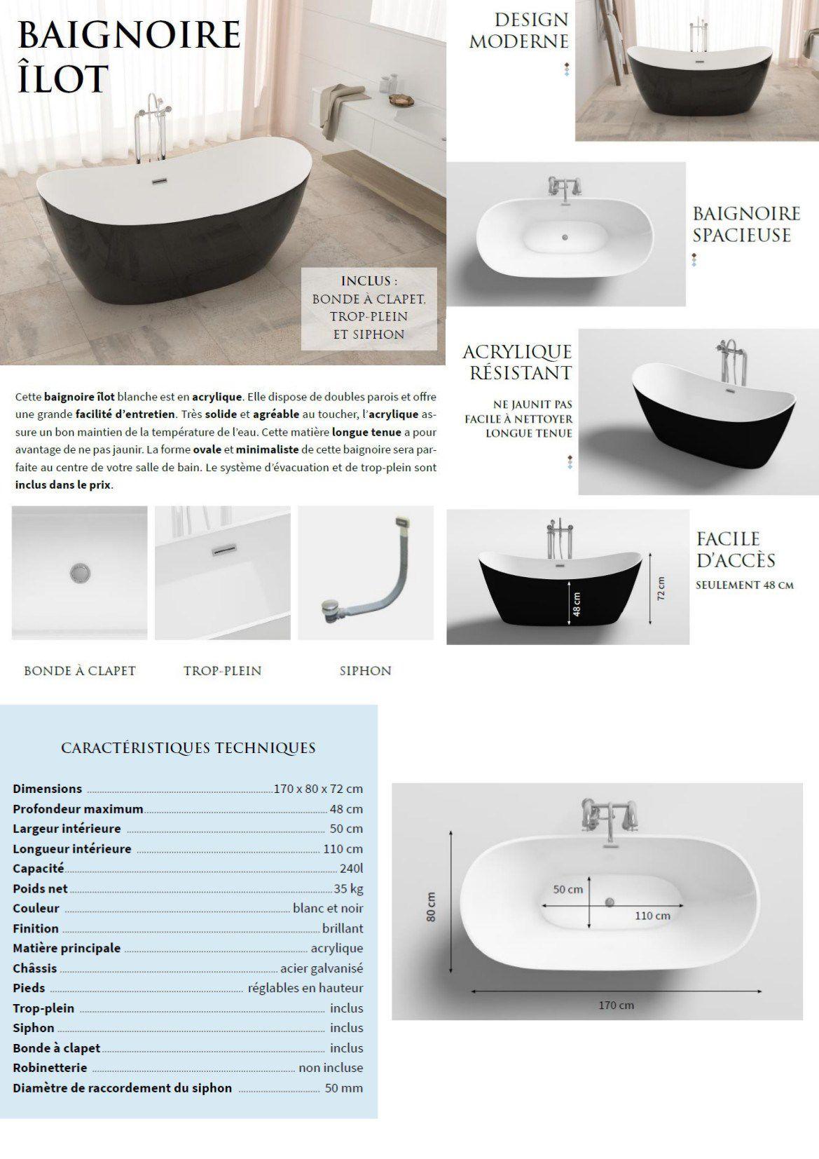 Marche Pour Monter Dans Baignoire baignoire - 170x80x72cm - design bicolore - blanc/noir