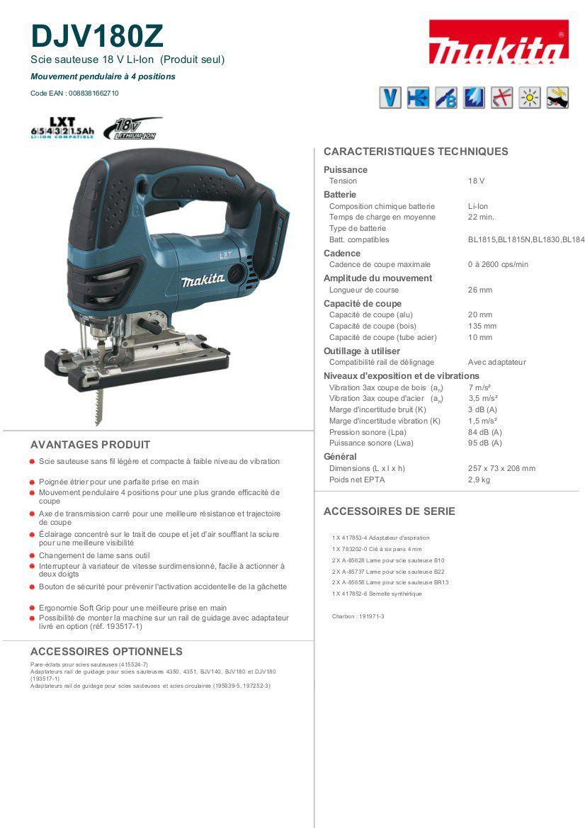 Makita DJV180Z 18 V LXT Scie sauteuse sans fil avec Bosch 10 x Lames pour bois /& METEL