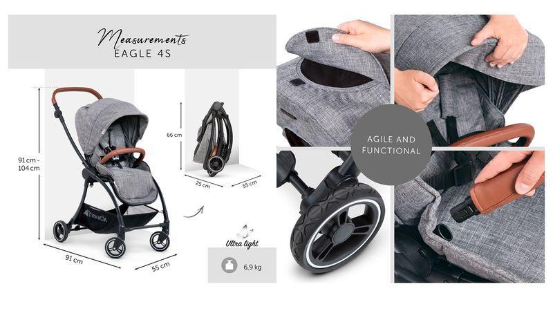 HAUCK Eagle 4 S Nacelle-melange gris Landau Poussette Bébé Accessoire BN
