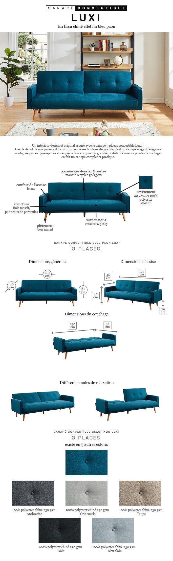 L 205 Places Canapé P 80 3 Tissu Convertible Bleu Scandinave Droit X Luxi Paon Cm wXuZiOPkT