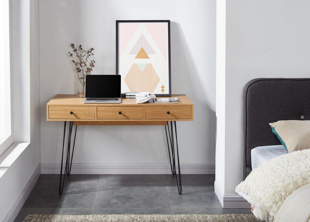 Louisette bureau console vintage décor chêne naturel l 115 cm