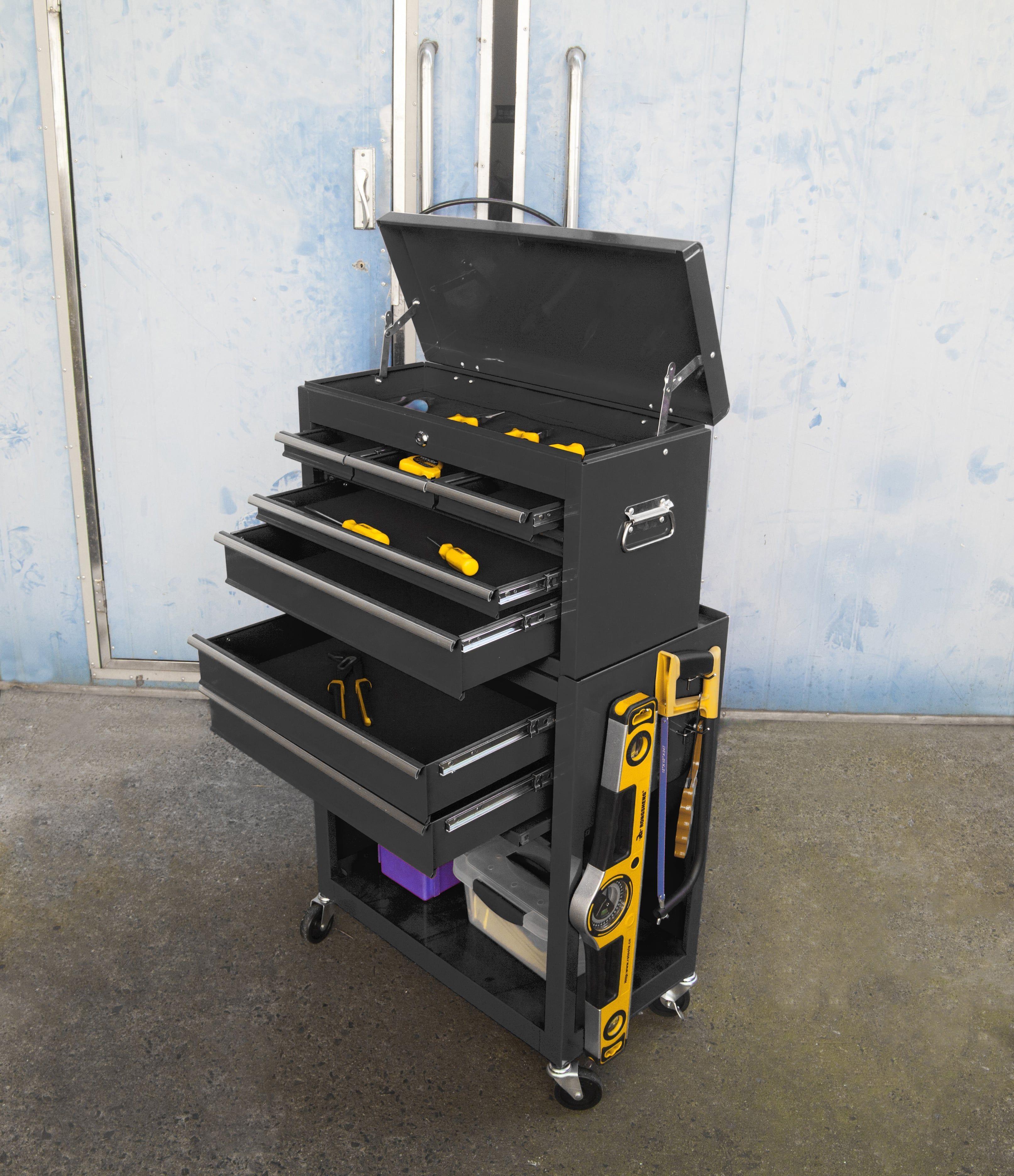 MANUPRO Servante d'atelier à outils 8 compartiments - Coffre malle rangement amovible - Acier ...