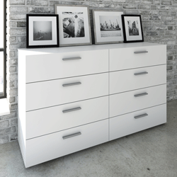 Commode TYHJA 8 tiroirs - Blanc - L 140 cm