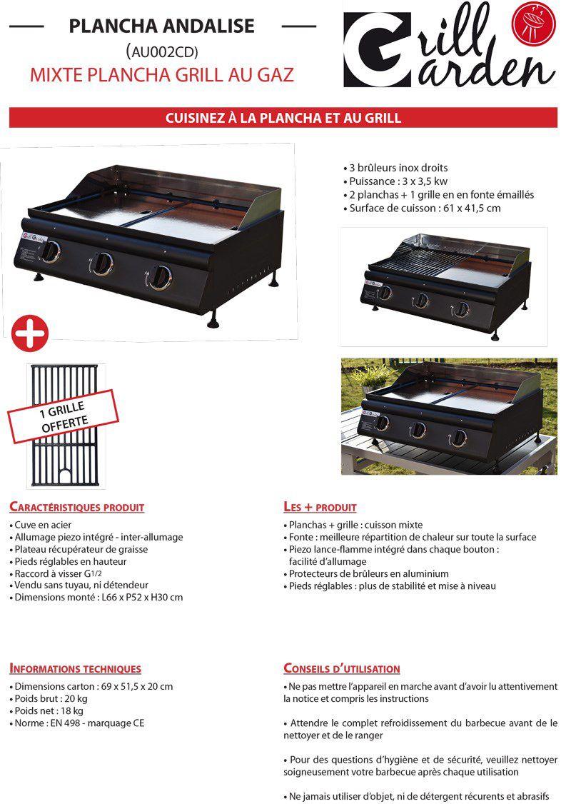 Nettoyer La Plancha En Fonte Émaillée grill garden plancha gaz 3 feux plaque fonte amovible +