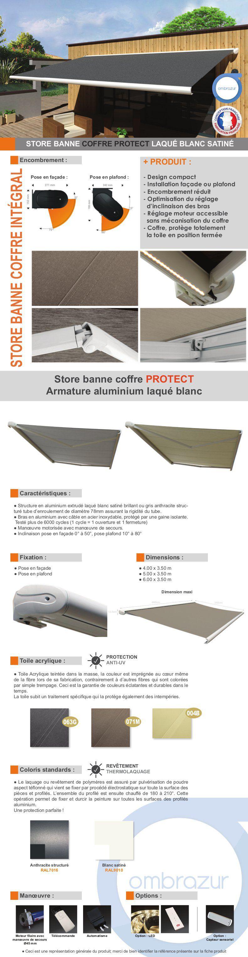 store banne motoris coffre int gral 6x3 5 m gris avec clairage led structure blanche pur. Black Bedroom Furniture Sets. Home Design Ideas