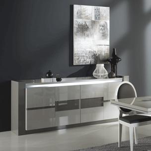 Meuble contemporain - décor chêne brossé et blanc