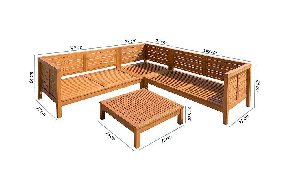 HAO Salon de jardin 5 places en bois d\'eucalyptus - un canapé modulable de  3 unités et une table basse