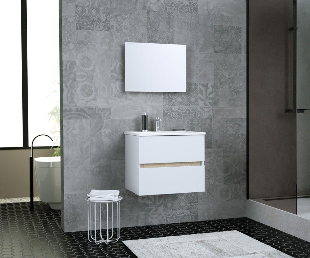 Meuble Haut Salle De Bain Avec Miroir totem salle de bain 60cm - 2 tiroirs fermetures ralenties