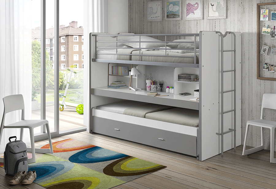 Lit mezzanine enfant contemporain gris + bureau
