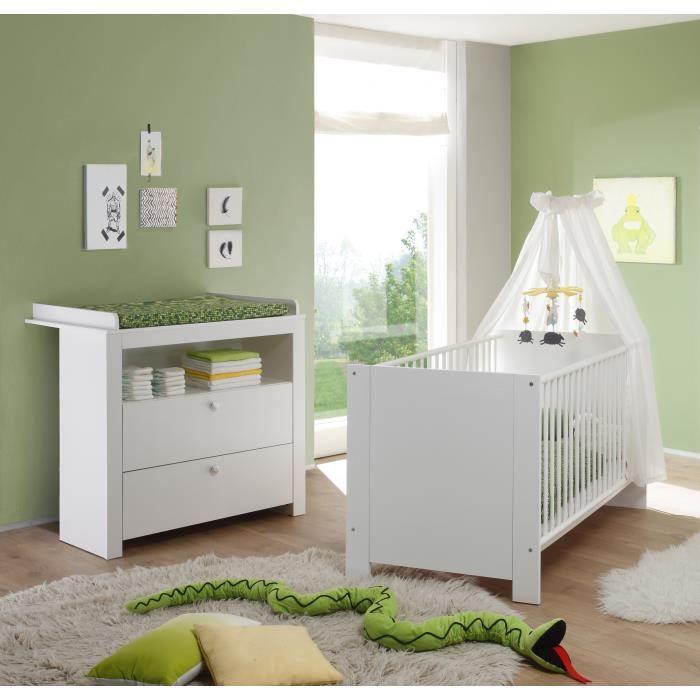 OLIVIA Ensemble lit bébé 70x140 cm et commode avec plan à langer mélaminé  blanc
