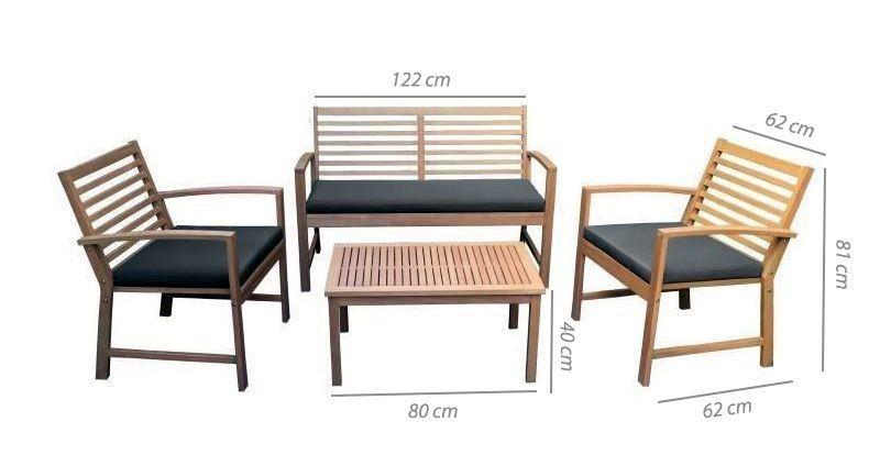 FINLANDEK - Salon de jardin 4 places en acacia - LOMA - Achat ...