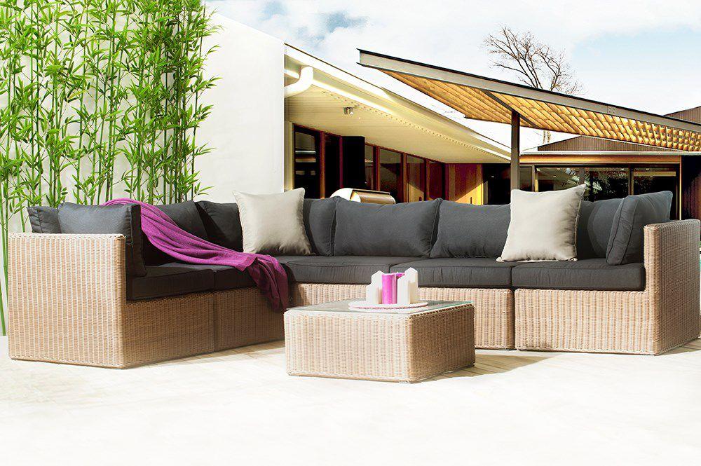 TIMOR Salon de jardin 6 places en résine tressée et aluminium ...