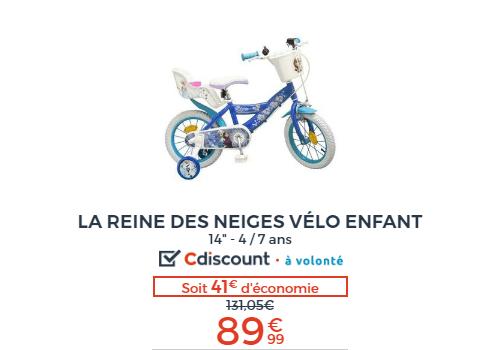 vélo enfant reine des neiges
