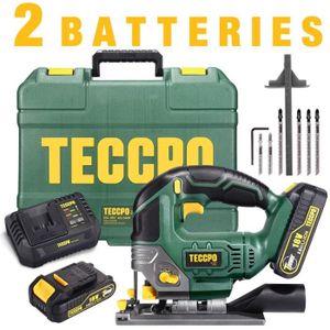 Scie Sauteuse sans Fil, TECCPO 18V Scie Sauteuse, 2 Batteries 2.0Ah, 30min Chargeur Rapide 4.0Ah, Lampe LED, 0~2300SPM