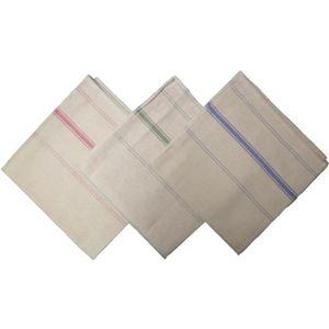 MACOSA SA01958 Lot de 2 torchons 100 /% coton aspect lin Blanc 70 x 50 cm