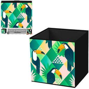 BOITE DE RANGEMENT Cube de rangement 'Toucan' vert jaune - 31x31 cm [