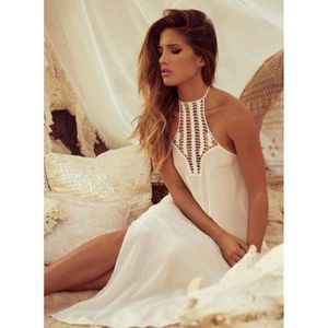 robe longue robe paules nues plage de robe femme sexy mousseline blanc achat vente robe. Black Bedroom Furniture Sets. Home Design Ideas