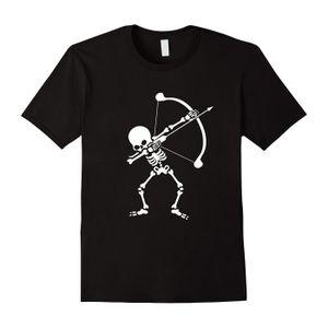 T-SHIRT Tir à l'arc Squelette tamponnant T-shirt Halloween