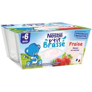 DESSERT LACTÉ NESTLÉ P'tit Brassé Fraise - 4x100 g - Dès 6 mois