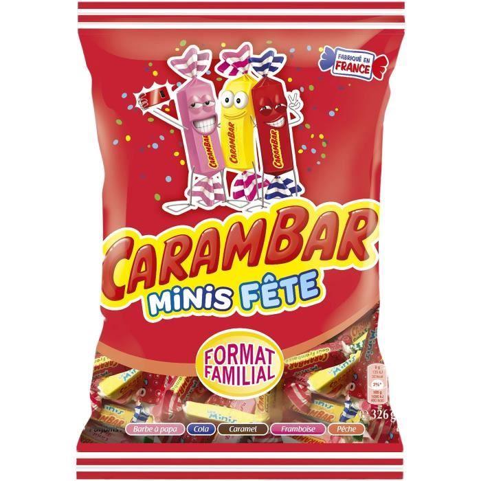CARAMBAR Bonbons Minis Fête, parfums : barbe à papa, cola, caramel, framboise et pêche - 326 g