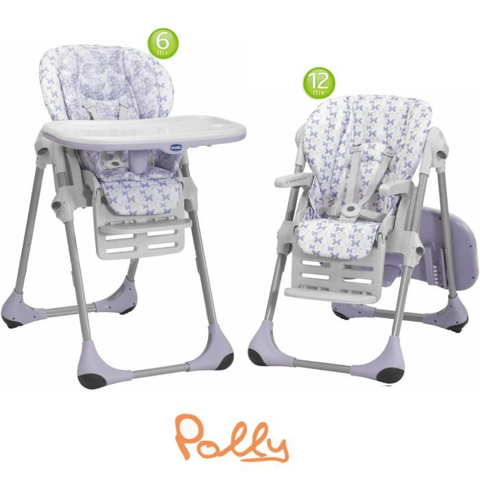 CHICCO Chaise Haute Polly 2 en1 Butterfly Violet et blanc