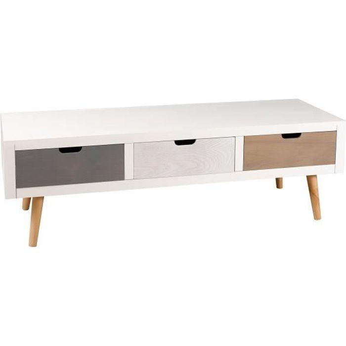 Meuble TV 3 tiroirs Blanc Gris Pin 120x40x39 LORENZO