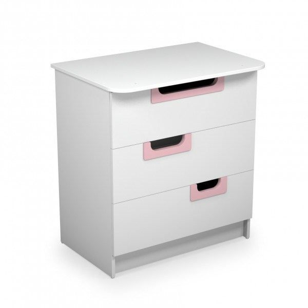 ateliers t4 commode blanche poign es roses 02 blanc et rose achat vente armoire commode. Black Bedroom Furniture Sets. Home Design Ideas