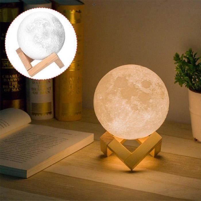 Lampe Lune Tactile - 2 Couleurs - 18cm