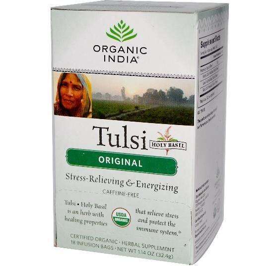 Organic India, Tulsi thé de basilic sacré, sans caféine, Original,18 sacs de perfusion,1,14 oz (32,4 g).