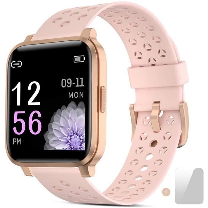 Montre Connectée Femmes,Montre Intelligente Homme,Bracelet Intelligent avec Calorie Counter Smartwatch Moniteur de Sommeil Fitness T
