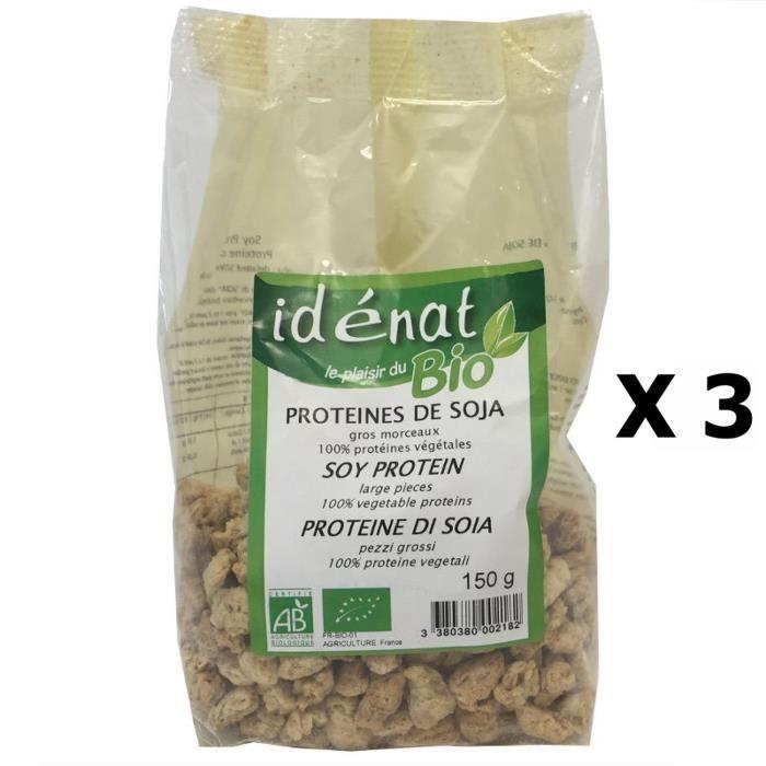 Lot 3x Protéines de soja gros morceaux BIO 100% protéines végétales - Idénat - paquet 150g