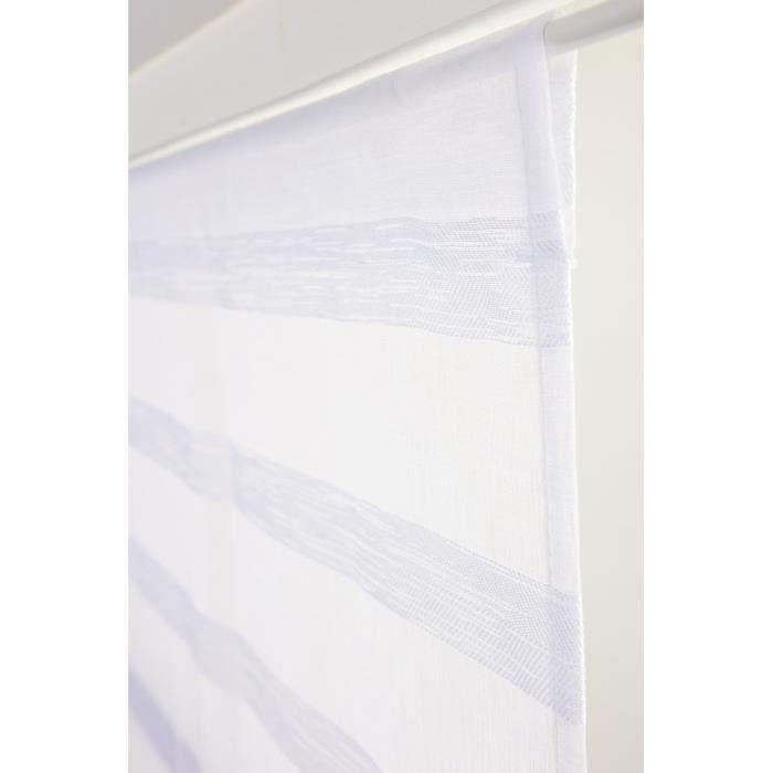 Vitrage 70 x 240 cm Rayures Horizontales Jacquardé Blanc