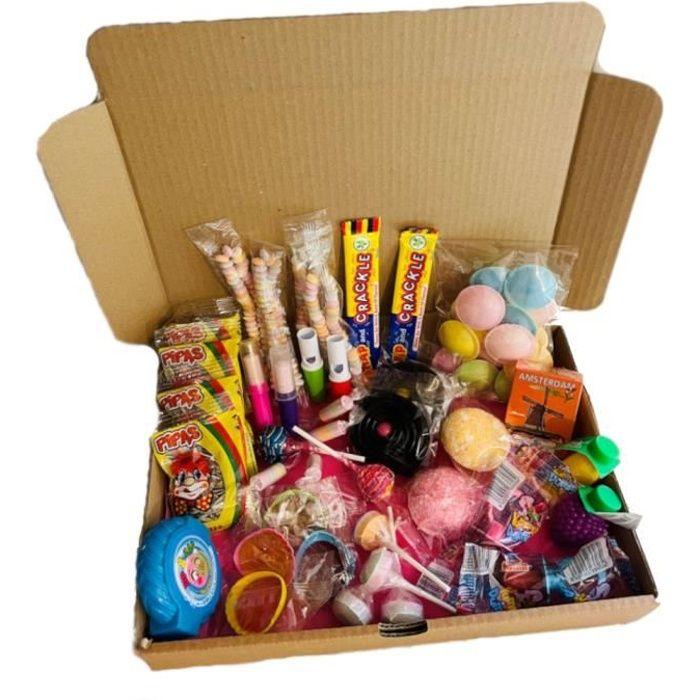 Box à bonbons rétro - Assortiment de confiseries d'antan - 53 pièces