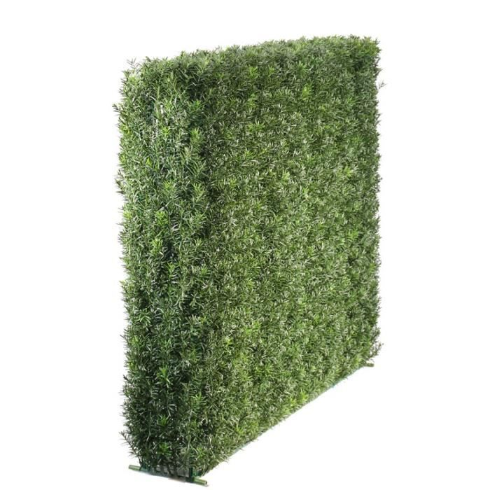 Lot 2 x Haie de Taxus artificielle FANNO, vert, 100x20x80 cm - Brise-vue artificielle - Haie décorative - artplants