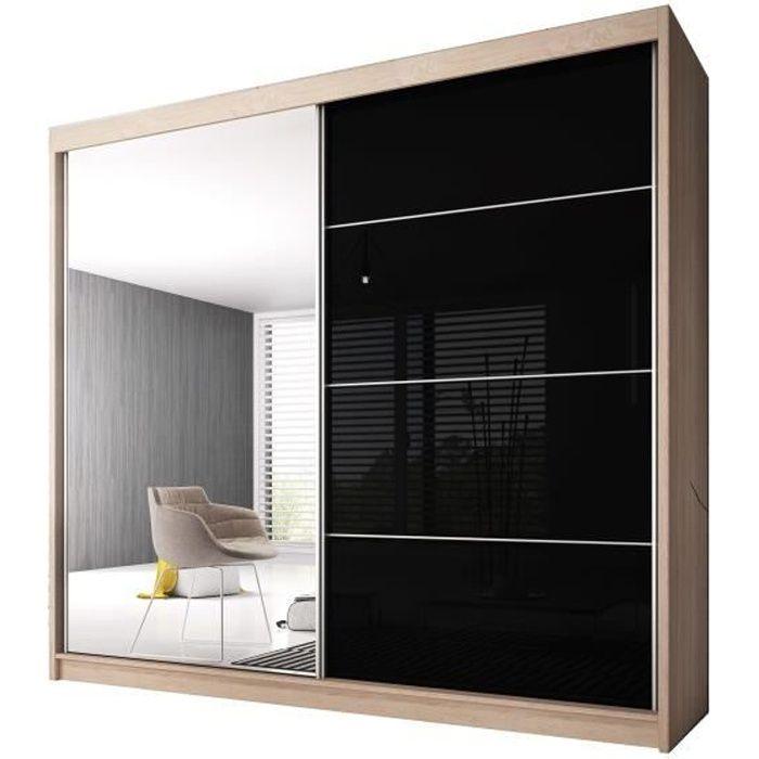 Armoire de Chambre avec 2 Portes coulissantes - Penderie (Tringle) avec étagères (LxHxP): 183x2180x61 Ben 31 (Sonoma/Noir+ Miroir)