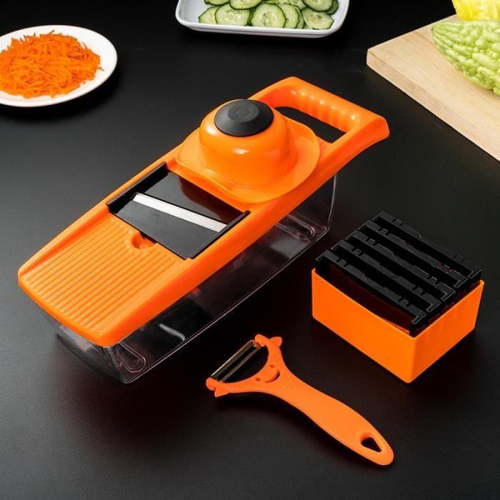 Hachoir manuel,Coupe légumes accessoires de cuisine ail oignon hachoir fruits pomme de terre éplucheur - Type Orange