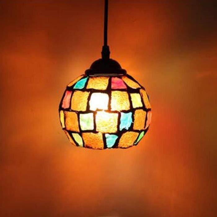 Style Marocain Mosaiumlque Motif Vintage Lampe Suspension de Plafond Lustre batjour Boule Reacutetro Coloreacute en Verre po[249]