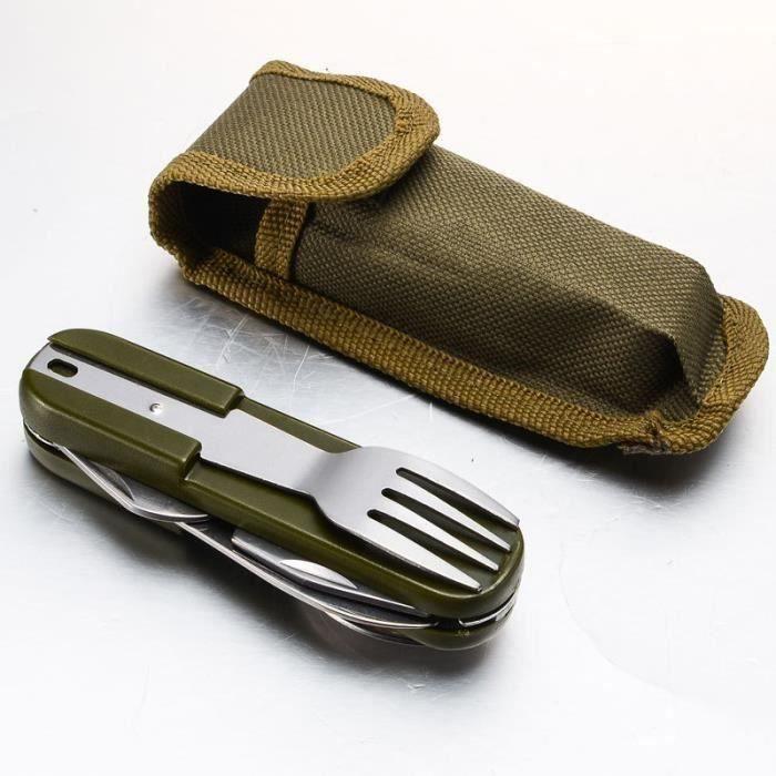 multifonction Couteau de Camping en Acier Inoxydable avec Sac,Pique-nique Voyager Pliant Cuillère Fourchette Couteau Outil