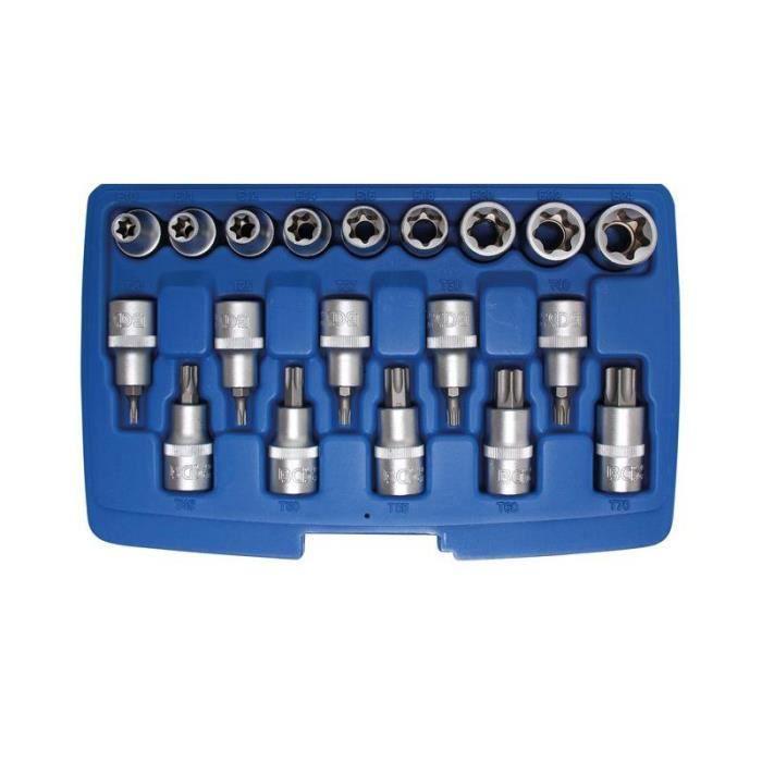 Jeu de douilles à embouts / de clé à douille 12,5 mm (1/2-) Profil E/profil T (pour Torx)/Profil E 19 pièces
