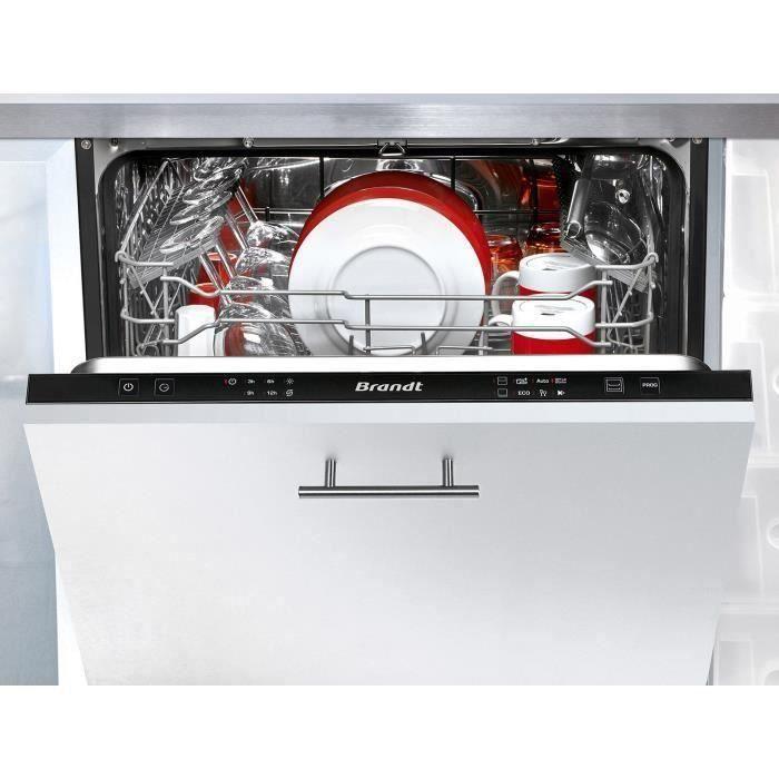 Lave-vaisselle encastrable BRANDT LVE134J - 13 couverts - 44dB - Noir