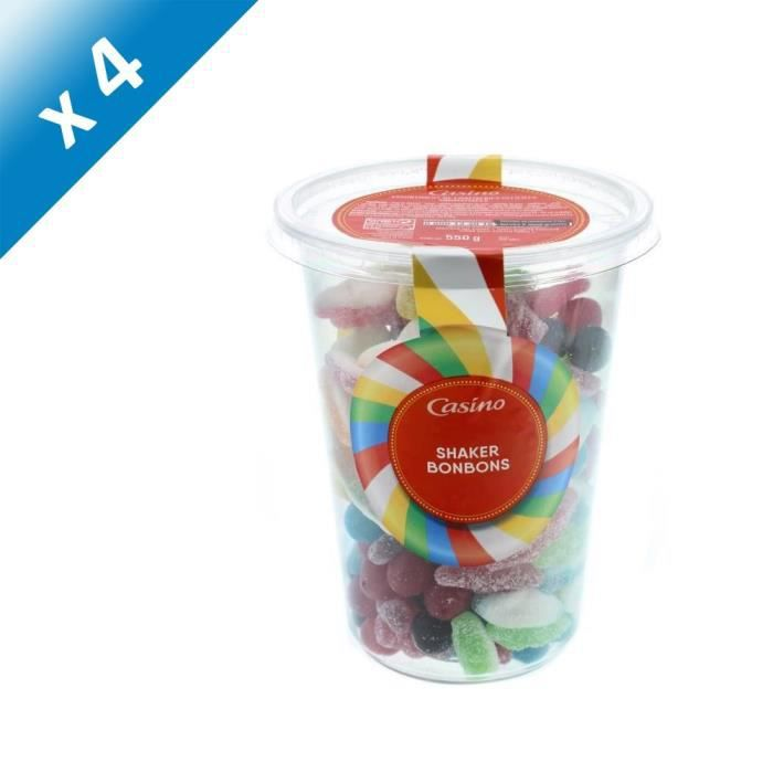 [LOT DE 4] ANDROS Mix bonbons gélifiés aromatisés avec shaker - 550 g