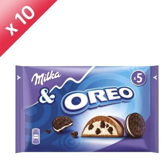 [LOT DE 10] MILKA Chocolats au lait du pays alpin aux morceaux de biscuits cacaoté et fourré crème - 5x 37 g
